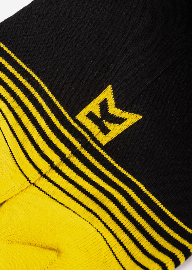 krck logo crew socks black yellow